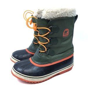 Sorel Insulated Rain Boot Green Orange Infinity 5